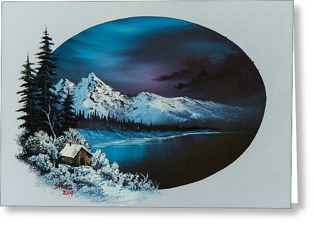 Bob Ross Paintings Greeting Cards - Jack Frost Moon  Greeting Card by C Steele