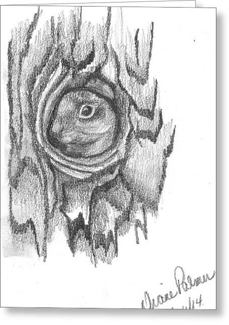 Squirrel Drawings Greeting Cards - Hide and Seek Squirrel Greeting Card by Diane Palmer