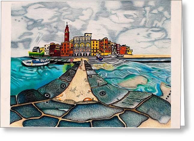 Rocks Drawings Greeting Cards - Hideaway by the sea Greeting Card by Teri Schuster