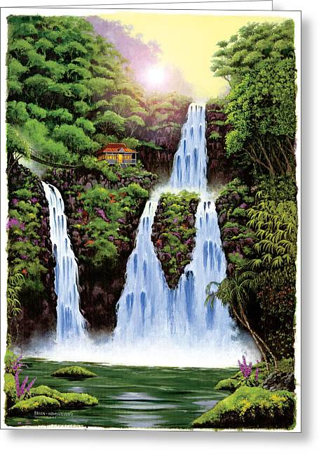 """tropical Trees"" Greeting Cards - Hideaway Falls Greeting Card by Brian James"