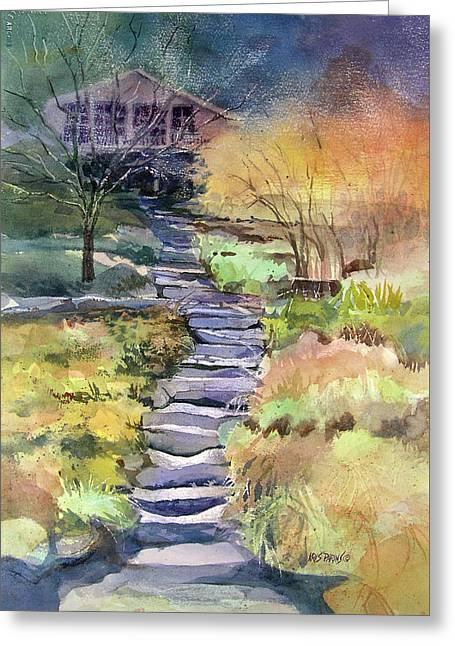 Stone Steps Paintings Greeting Cards - Hideaway Greeting Card by Kris Parins