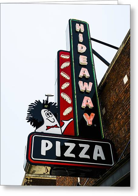 Waldo Greeting Cards - Hideaway Pizza Neon Sign Greeting Card by David Waldo