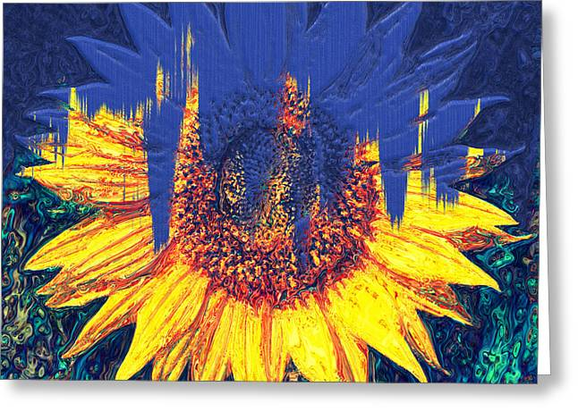 Sunflower Joy Greeting Cards - Hiding Behind Paint - Abstract Realism Greeting Card by Georgiana Romanovna