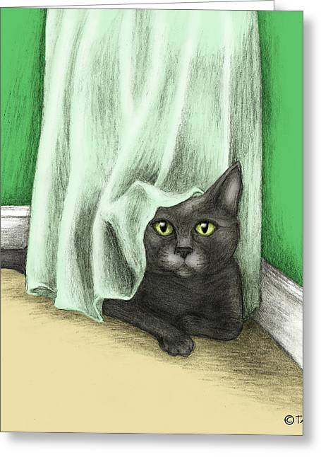 Gray Hair Mixed Media Greeting Cards - Hiding Cat Greeting Card by Tricia Shanabruch