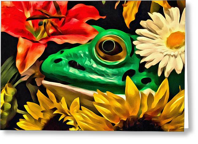 Colourful Surrealism Greeting Cards - Hiding Frog Greeting Card by Jeff  Gettis