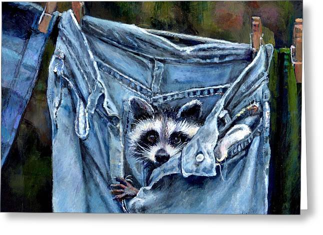 Donna Tucker Greeting Cards - Hiding in My Jeans Greeting Card by Donna Tucker