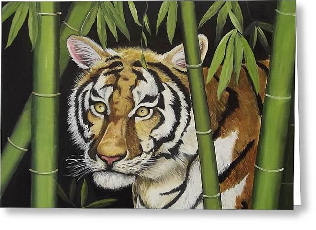 Hiding in the Bamboo Greeting Card by Wanda Dansereau