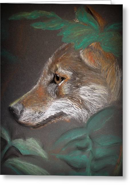 Dark Eyes Pastels Greeting Cards - Hiding in the Shadows Greeting Card by Rebecca Davis