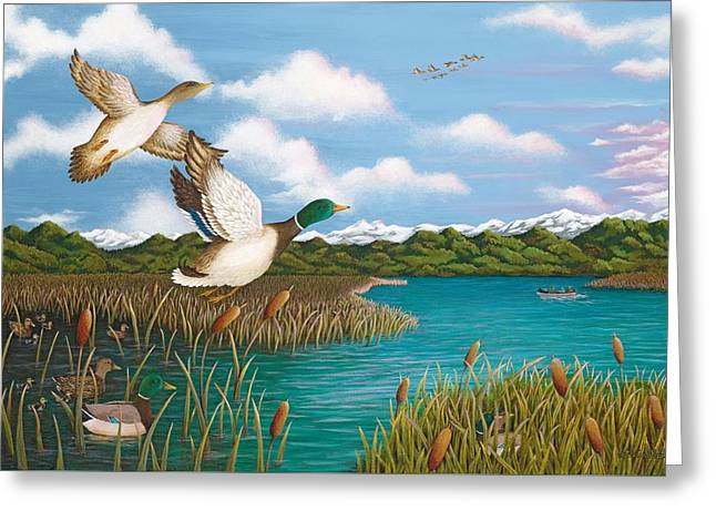 Bulrushes Greeting Cards - Hiding Out Greeting Card by Katherine Young-Beck