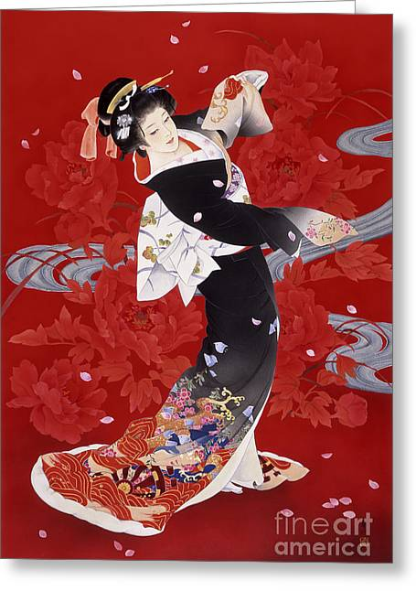 Dancing Petals Greeting Cards - Hien Greeting Card by Haruyo Morita