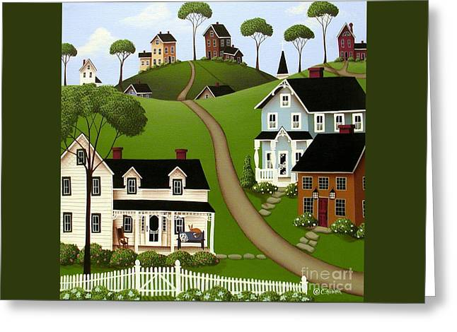 Naive Art Greeting Cards - Higginsville  Greeting Card by Catherine Holman