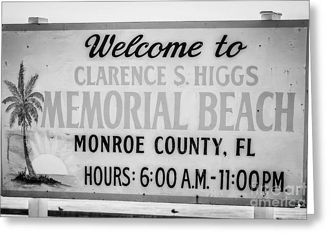Liberal Greeting Cards - Higgs Beach Sign Closeup - Key West - Black and White Greeting Card by Ian Monk