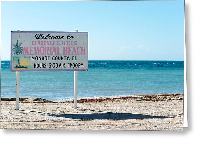 Liberal Greeting Cards - Higgs Beach Sign - Key West  Greeting Card by Ian Monk
