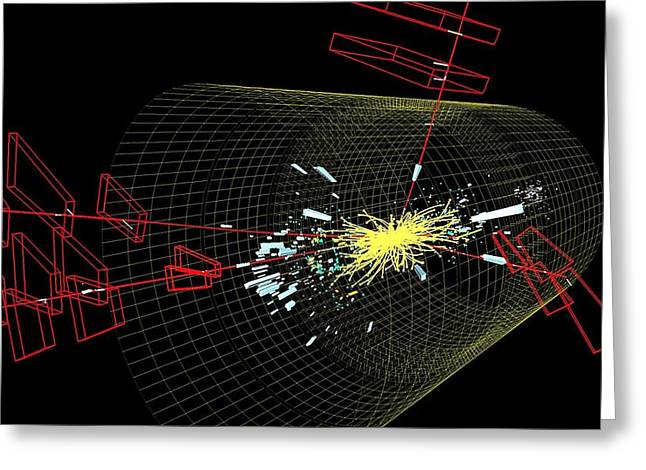 Large Hadron Collider Greeting Cards - Higgs boson event Greeting Card by Science Photo Library