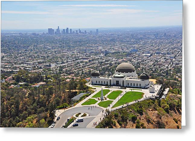 Usa Pyrography Greeting Cards - High above Los Angeles Greeting Card by Steffen Schumann