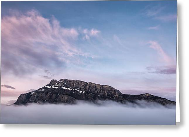 Rundle Greeting Cards - High above the clouds Greeting Card by Jon Glaser