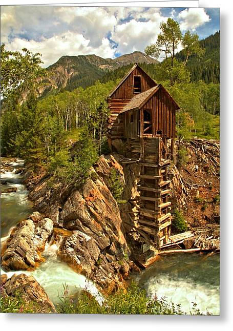 Water Powered Generator Greeting Cards - High Above The Crystal River Greeting Card by Adam Jewell