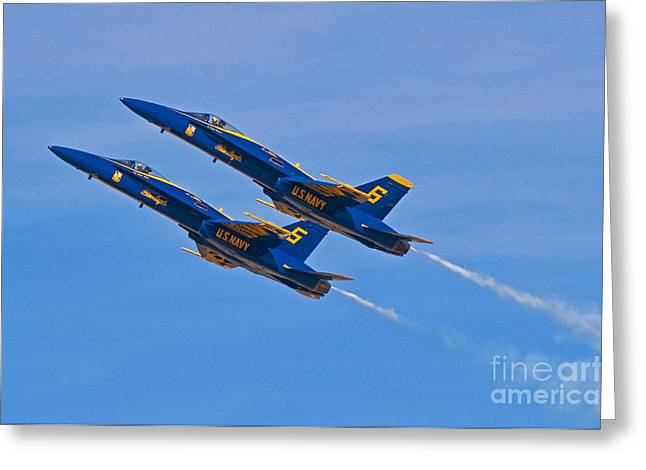 Angel Blues Greeting Cards - High Alpha- Blue Angels Greeting Card by Steve Rowland