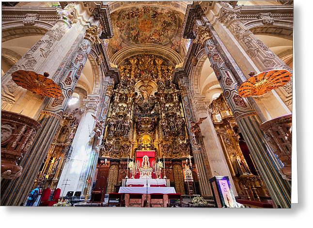 Spanish Art Sculpture Greeting Cards - High Altar in Seville Cathedral Greeting Card by Artur Bogacki