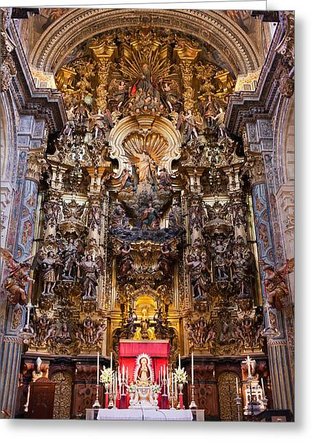 Interior Scene Greeting Cards - High Altar of the Seville Cathedral Greeting Card by Artur Bogacki