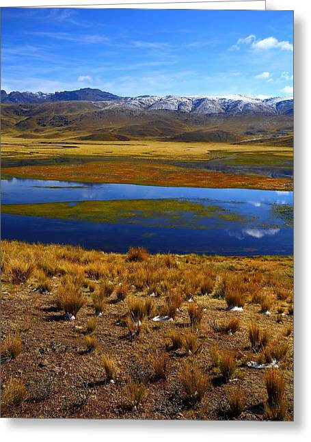 Peru Greeting Cards - High Altitude Reflections Greeting Card by FireFlux Studios