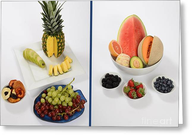 Watermelon Greeting Cards - High- And Low-carbohydrate Fruits Greeting Card by Photo Researchers, Inc.