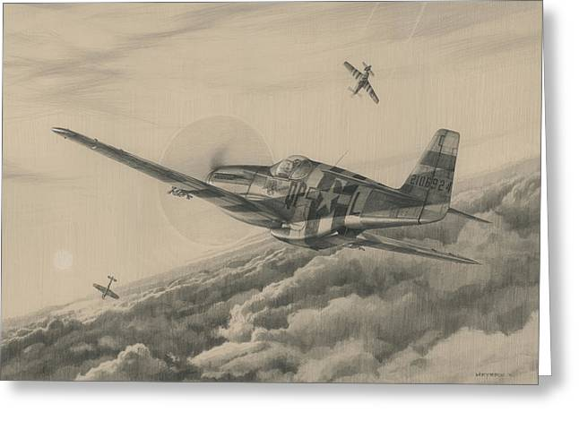 P-51 Mustang Greeting Cards - High-Angle Snapshot Greeting Card by Wade Meyers