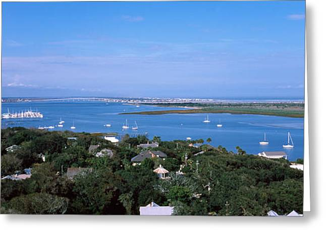 Horizon Over Water Greeting Cards - High Angle View From Top Of Lighthouse Greeting Card by Panoramic Images