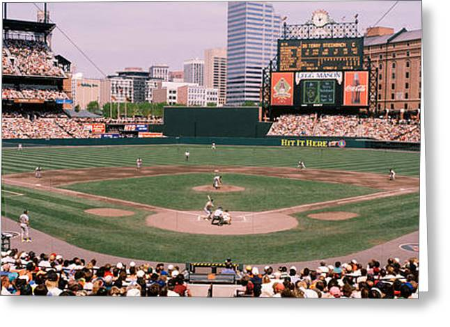 High Angle View Of A Baseball Field Greeting Card by Panoramic Images