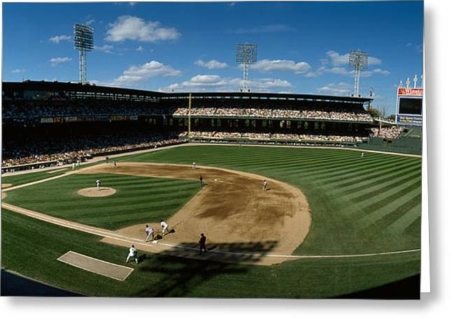 Baseball Stadiums Greeting Cards - High Angle View Of A Baseball Match Greeting Card by Panoramic Images