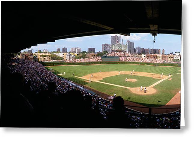 Wrigley Field Greeting Cards - High Angle View Of A Baseball Stadium Greeting Card by Panoramic Images