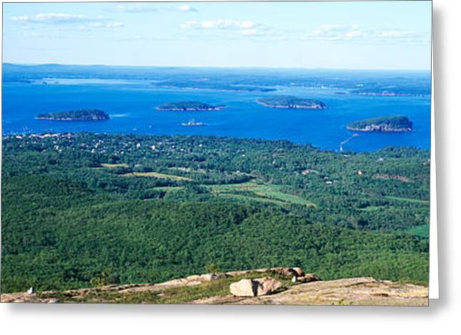 Maine Landscape Greeting Cards - High Angle View Of A Bay, Frenchman Greeting Card by Panoramic Images