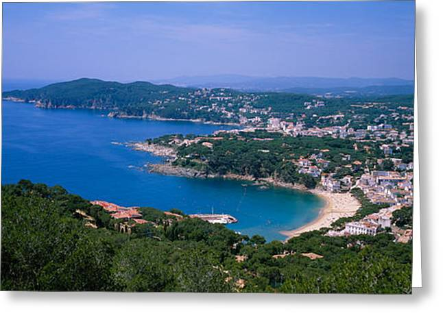 Sailboat Images Greeting Cards - High Angle View Of A Bay, Llafranc Greeting Card by Panoramic Images