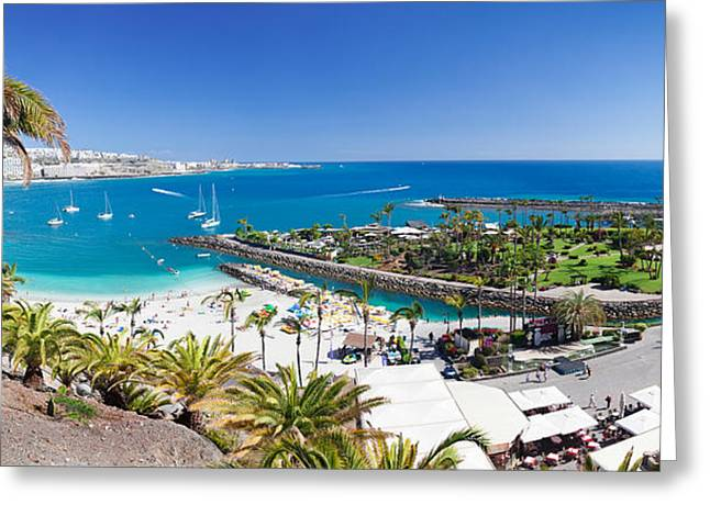 Verga Greeting Cards - High Angle View Of A Beach, Anfi Del Greeting Card by Panoramic Images