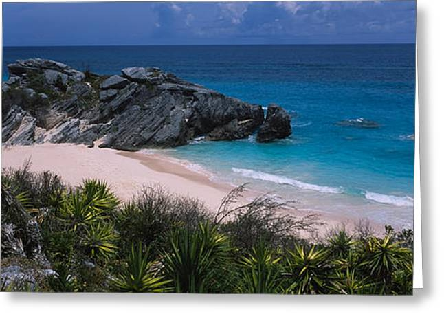 Horizon Over Water Greeting Cards - High Angle View Of A Beach, Bermuda Greeting Card by Panoramic Images
