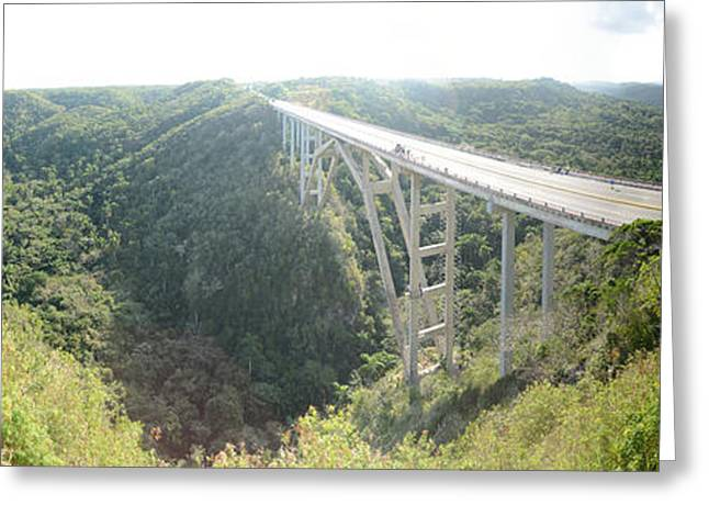 Matanzas Greeting Cards - High Angle View Of A Bridge, El Puente Greeting Card by Panoramic Images