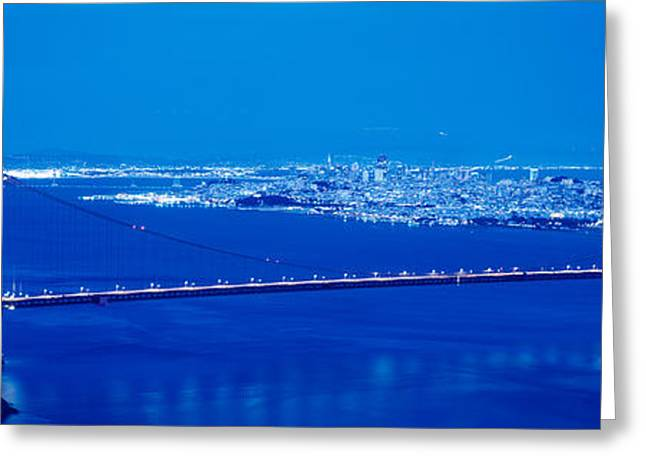 Locations Greeting Cards - High Angle View Of A Bridge Lit Greeting Card by Panoramic Images