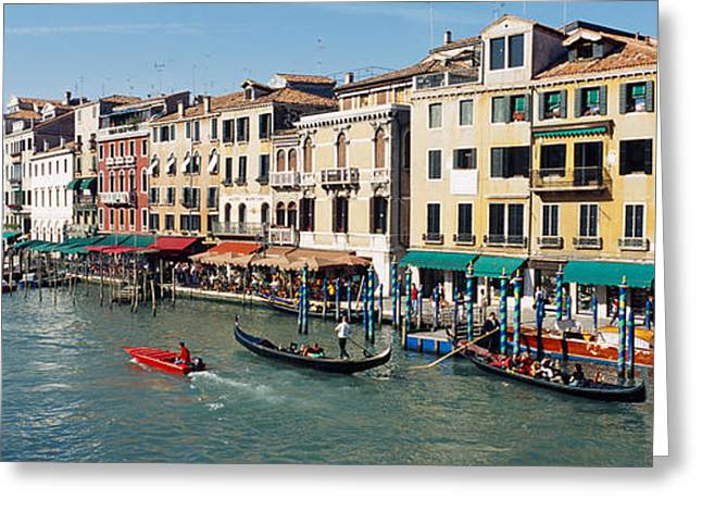 Gondolier Photographs Greeting Cards - High Angle View Of A Canal, Grand Greeting Card by Panoramic Images