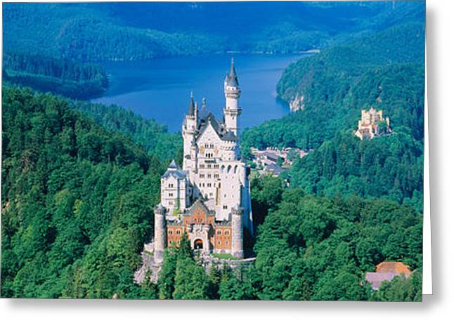 Neo-gothic-style Greeting Cards - High Angle View Of A Castle Greeting Card by Panoramic Images
