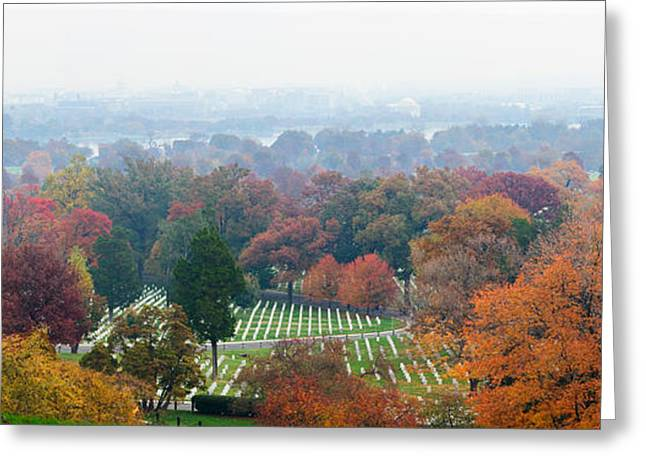 National Cemetery Greeting Cards - High Angle View Of A Cemetery Greeting Card by Panoramic Images
