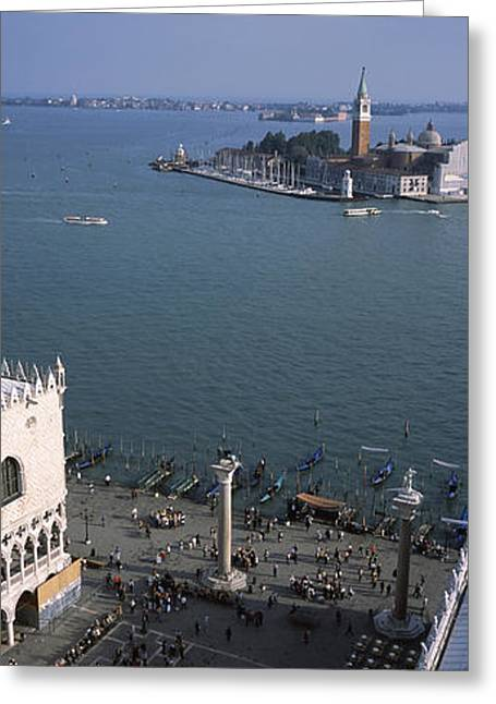Canale Greeting Cards - High Angle View Of A Church And A Bell Greeting Card by Panoramic Images