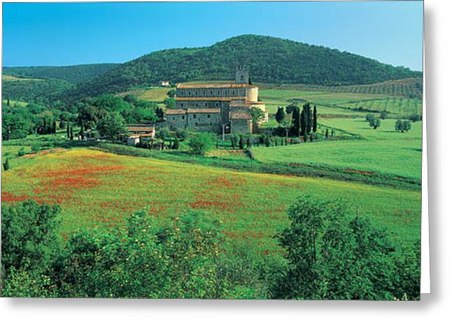 Montalcino Greeting Cards - High Angle View Of A Church On A Field Greeting Card by Panoramic Images