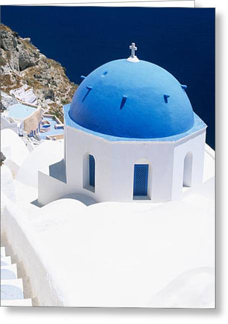 Oia Greeting Cards - High Angle View Of A Church With Blue Greeting Card by Panoramic Images