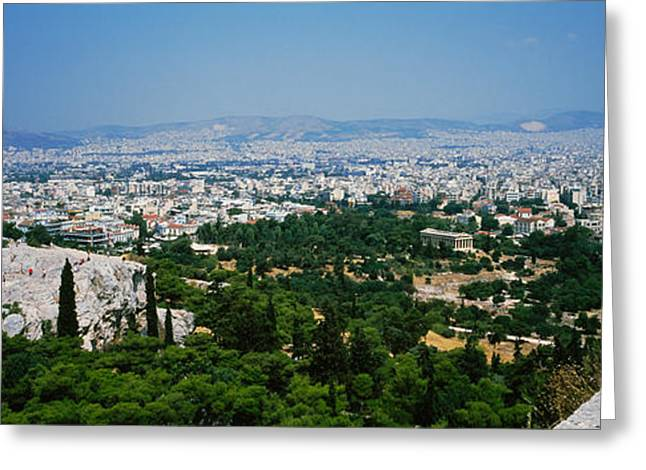 Acropolis Greeting Cards - High Angle View Of A City, Acropolis Greeting Card by Panoramic Images