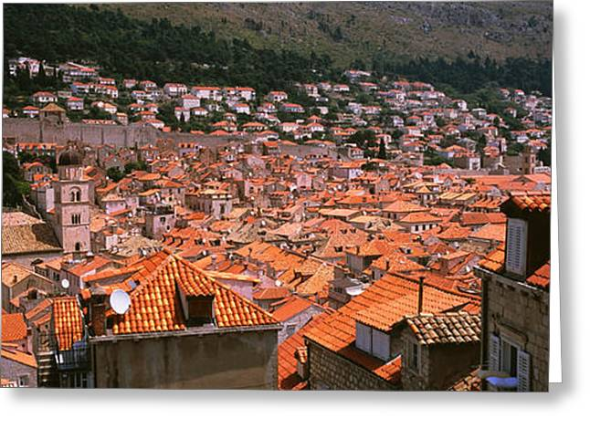 Fortified Wall Greeting Cards - High Angle View Of A City As Seen Greeting Card by Panoramic Images