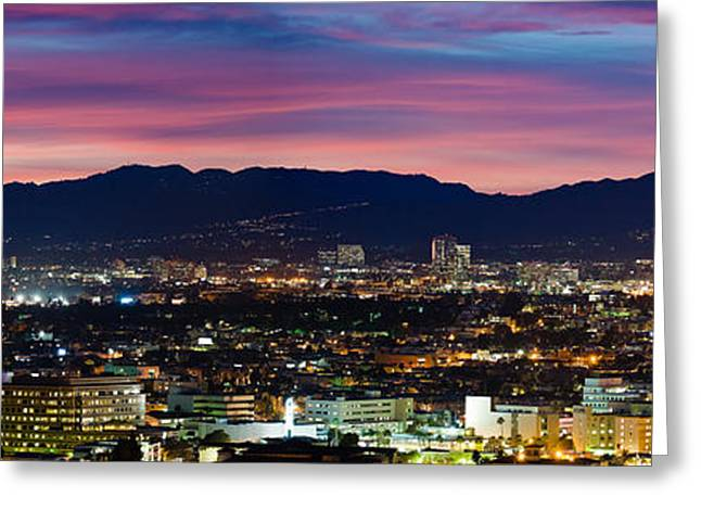 Medical Greeting Cards - High Angle View Of A City At Dusk Greeting Card by Panoramic Images