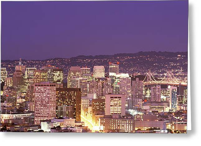 Commercial Building Greeting Cards - High Angle View Of A City At Dusk, San Greeting Card by Panoramic Images