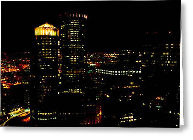 Locations Greeting Cards - High Angle View Of A City At Night Greeting Card by Panoramic Images