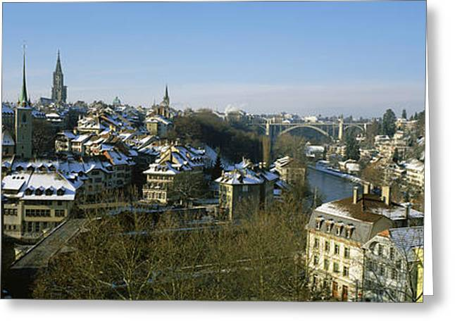 Roof Covering Greeting Cards - High Angle View Of A City, Berne Greeting Card by Panoramic Images