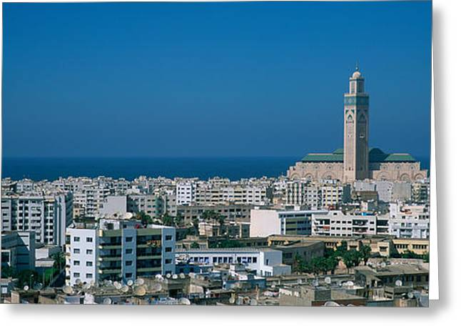 Casablanca Greeting Cards - High Angle View Of A City, Casablanca Greeting Card by Panoramic Images